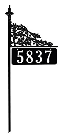 Address America 48 Oak Reflective 911 Home Address Sign for Yard - Custom Made Address Plaque - Wrought Iron Look Exclusively Inc. AS-OAK-48-WF
