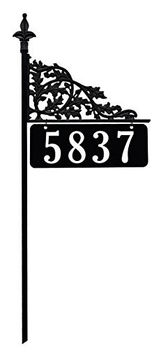 Address America Custom Address Sign Plaque 24/7 Visibility Signage, Unique Yard Sign Oak Leaf Design with Ultra-Reflective House Numbers, Steel Pole 47