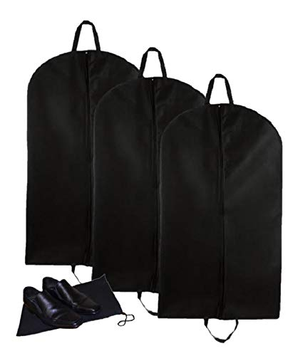 Leather Goods Garment Bag - Elaine Karen Deluxe Breathable 3pc Travel Suit Garment Bags with Handles, with Shoe Bag