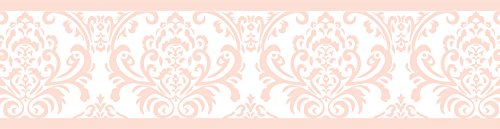 Sweet Jojo Designs Modern Pink Damask Baby Girls, Childrens and Kids Wall Paper Border for Amelia Bedding Collection (Baby Pink Border)