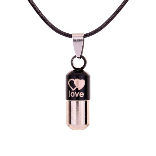 Pill Capsule Costume (YAZILIND Jewelry Christmas On Sale Stainless Steel black Love Pill Capsule Shape Pendant Necklace Clothes PU Leather Chain for Women Girls Gift Idea)