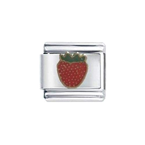 (The Olivia Collection Enamel Strawberry Stainless Steel Italian Charm)