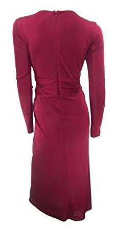 f99e6a2e562 Alexon Stretchy Burgundy Midi Dress Draped Detail at Waist Made for ...