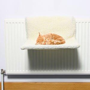 Swan House® - Cama para radiador de gato - Cubierta extraíble de efecto piel de