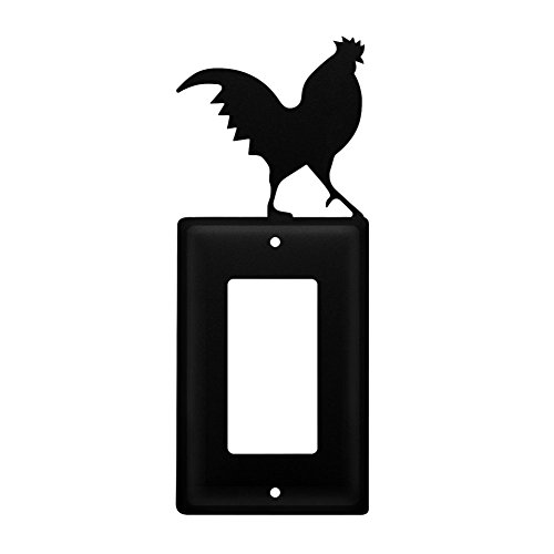 Iron Rooster Single Modern Switch Cover - Black Metal (Rooster Switchplate)