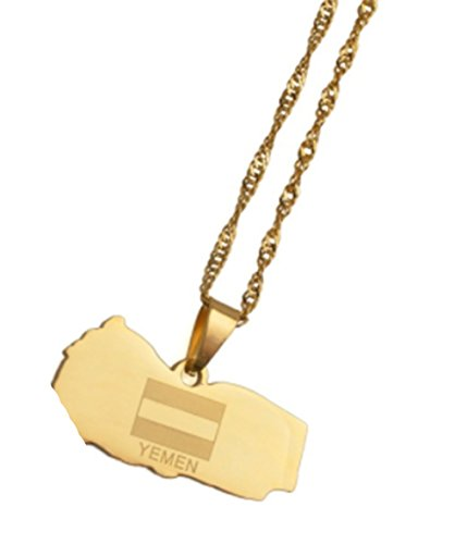 AccessCube Unisex Country Map Flag Pendant Necklace Gold Silver Color Charm Maps Jewelry (Yemen/Gold) (Yemen Map)