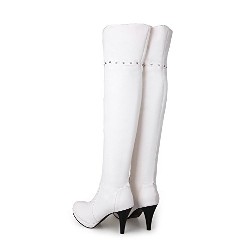 AmoonyFashion Womens Round-Toe Closed-Toe High-Heels Boots With Rivet and Platform White 2t1pCI
