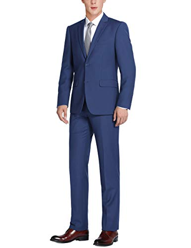 (CHAMA Men's Solid Two Piece Two Button Classic Fit Business Suit-Many Colors (Royal Blue, 46Short/40Waist))