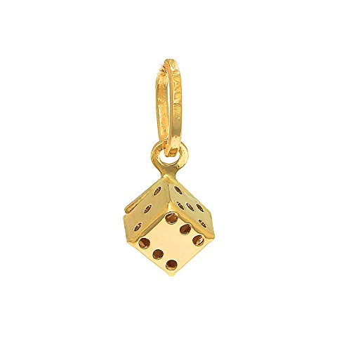 JewelStop 14K Yellow Italian Gold Puffed Playing Dice Lucky Charm Pendant