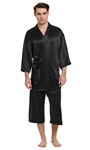 LilySilk Silk Pajamas For Men 100 Pure Mulberry 22mm Traditional Kimono Robe Style Japanese Luxury Sleepwear Black XXXL/48 by LilySilk