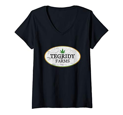 Womens Funny Tegridy Farms Logo V-Neck T-Shirt (Shirts With Weed Logo)