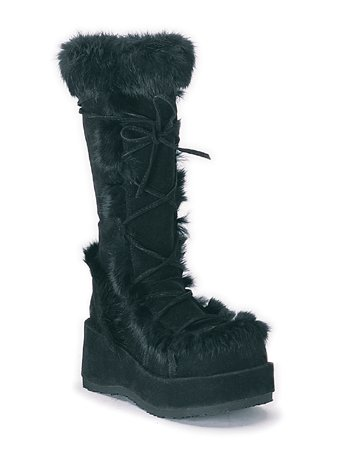 Goth Boot Yeti Black Platform Fur Vegi High Knee rrCw0q
