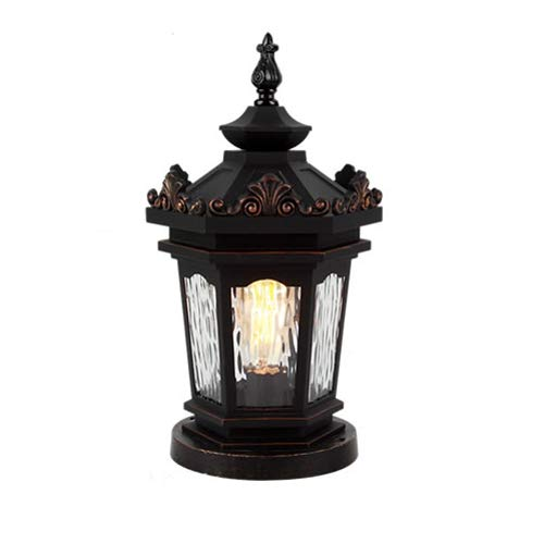 P/b Decorative Glass Doors - Pinjeer Pillar Lamp European Outdoor Waterproof E27 Aluminum Wall Post Lamp Home Landscape Garden Villa Door Pillar Lamp Home Decoration Column Headlight (Color : Style-B)