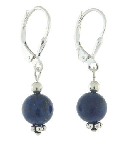- Sterling Silver 8mm Gemstone Bead Lever Back Bottom Dot Flower Earrings, Lapis Lazuli