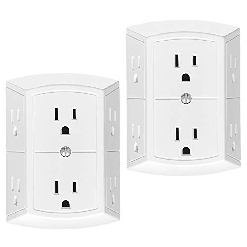 (6 Outlet Grounded Three Sided Wall Adapter Tap, Oviitech Multi Spaced Outlet Plugs,ETL listed/White (2 Pack))