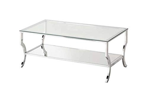 Coaster 720338 Rectangular Coffee Table with Mirrored Shelf Chrome (Tables Cocktail Mirrored)