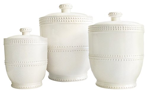American Atelier 3 Piece Bianca Bead Round Canister Set, White (White Cannister Kitchen)