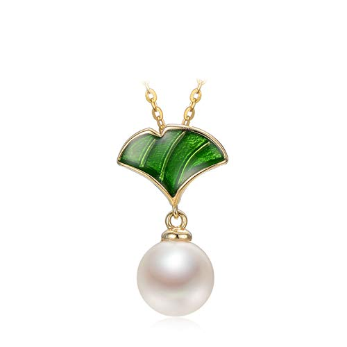 Gnzoe White Cultured Freshwater Pearl Leaf with Enamel Pendant Necklace for Women, Golden Chain 43cm