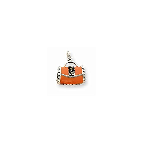Q Gold Jewelry Pendants & Charms Themed Charms Sterling Silver Orange Enameled Marasite Purse Charm