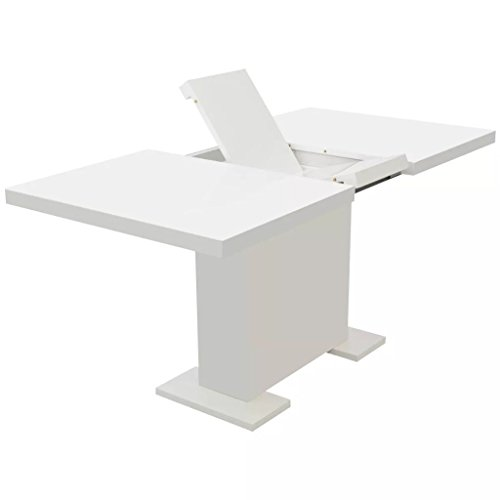 Tidyard Extendable Dining Table High Gloss White (And Chairs Dining Table Seater Extendable 6)
