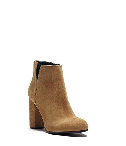 PoiLei Maya - Damen Schuhe/Sommer-Stiefelette - Ankle Boot mit Blockabsatz Hellbraun