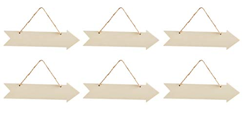Hanging Wood Arrow Plaque - 6-Pack Unfinished Arrow Wall Decor, Directional Sign, Rustic Wood Arrow Sign, Decorative Sign, for Home, Office, School, Party, Wedding Decoration, 13.5 x 5 x 0.2 Inches ()