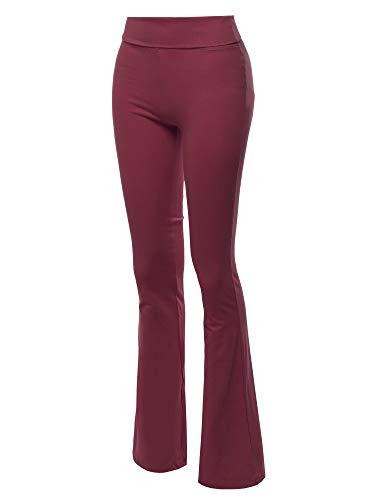 Made by Emma High Waist Stretch Workout Bootleg Lounge Yoga Pants Dark Burgundy S