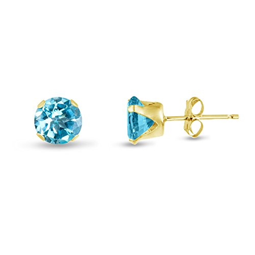 Round 6mm 14k Gold Plated Sterling Silver Genuine Sky Blue Topaz Stud Earrings, Free Gift Box (Blue Topaz Genuine Gift Box)