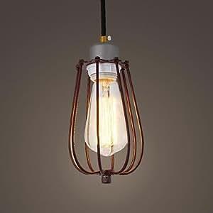 lanmei Loft Amercian Vintage Rustic Cage Pendant Edison Bulb Industrial Lamp Coffee Canteen Room Lamp