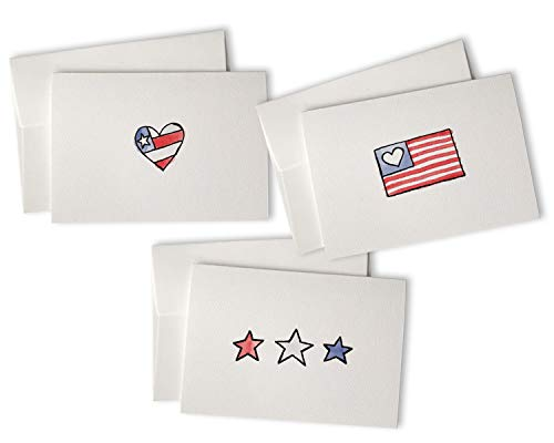 Patriotic American Greeting Cards Set - 24 Note Cards with Envelopes - Great for Thank You Cards