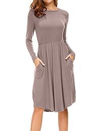 Women's Long Sleeve Pleated Causal Loose Swing Midi Dress...