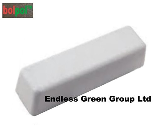 4' bolpol - WHITE buffing bar, polishing compound to clean and polish Aluminium & Chrome - WHITE 110g Bolpol products are made in the UK