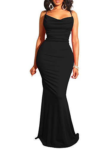 (GOBLES Women Sexy Spaghetti Strap Bodycon Halter Mermaid Evening Maxi Dress Black)