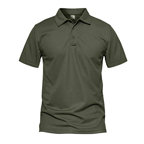 CRYSULLY Men's Military Short and Long Sleeve Shirt Tactical Pullover Outdoor Goft T-Shirt Army Polo Shirts