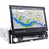7In Single-DIN Car Stereo Receiver With Bluetooth and GPS Navigation - Pop-Out Touchscreen Motorized Slide-Out Display Screen App Download And CD/DVD Player in Dash Headunit