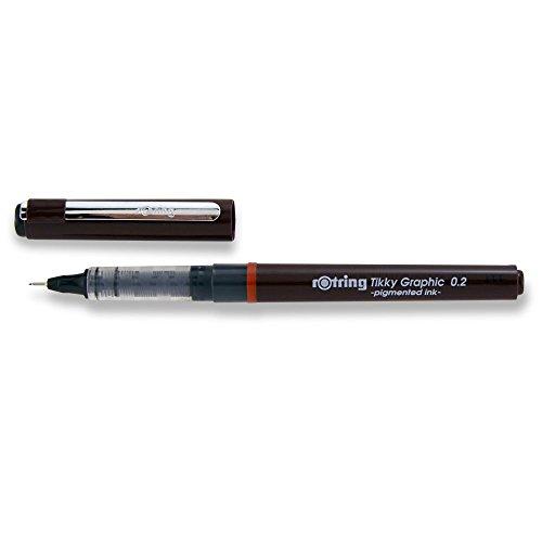 Rotring Tikky Graphic Felt-Tip Fineliner Pen, 0.20mm Line Width, Black Ink (1904752)
