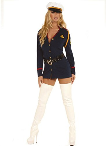 Elegant Moments Womens Gentlemans Officer Navy Sailor Fancy Dress Sexy Costume, M/L (Elegant Moments Sailor Costume)