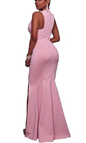Di A Pura Colore Da Colore Partito Scollo V Di donne Coolred Rosa Profonda Vestito Del Sexy Divise 0qRAU4U