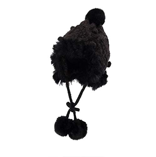 Hat for Baby Girl 12-18 Months,Women Warm Crochet Winter Plus Velvet Thickening Slouchy Fur Siamese Hat,Aromatherapy Diffusers,Black,One Size