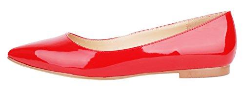 queenfoot Pump6002 - Mocasines de Piel para mujer B-Red patent
