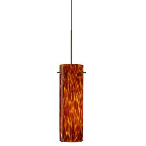 Besa Lighting 1XP-493018-BR 1X50W Gy6.35 Copa Pendant with Amber Cloud Glass, Bronze Finish by Commercial Lighting--DROPSHIP