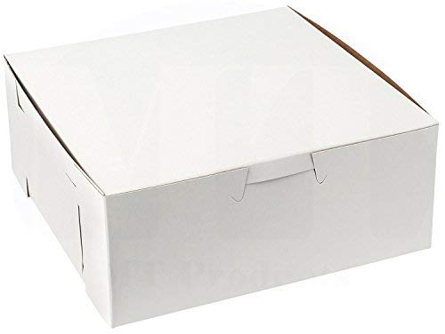 White Disposable paperboard Cake Box - 6 X 6 X 2.5 inch; Clay Coated Paper Bakery Boxes with Side locking Tabs-Made in USA (Pack of 30)