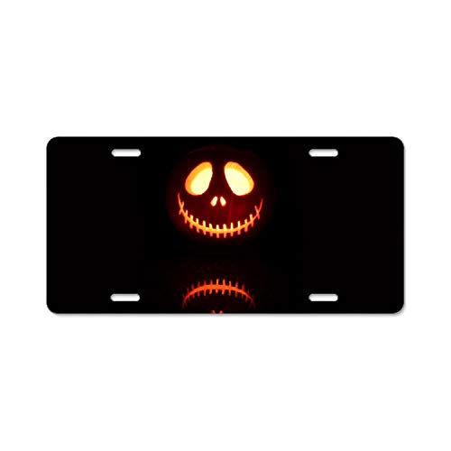 (SUJQNGC Aluminum License Plate Halloween Spooky Pumpkin - Aluminum License Plate, Front License Plate, Vanity Tag)