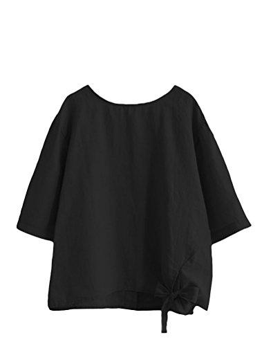 Minibee Women's Cotton Linen Blouse Loose Tunics Tops Shirt 2XL Black