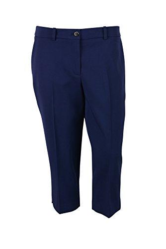 (Michael Kors Womens Indigo Blue Virgin Wool Pleat Crop Pants 6 )