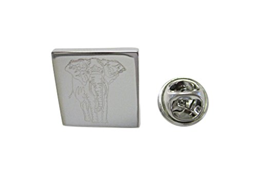 Silver Toned Etched Detailed Elephant Lapel Pin