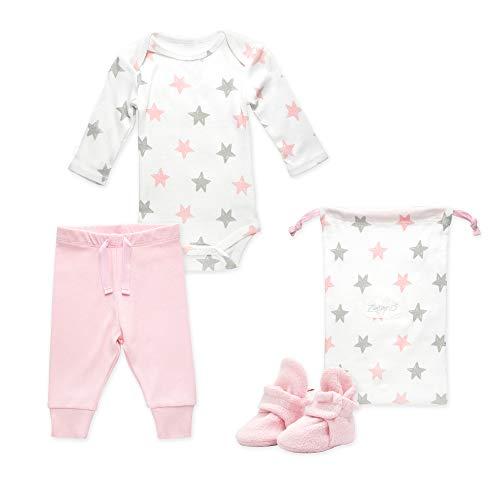 (Zutano Baby Booties Gift Set, Stars 3pc, Baby Pink, 3M)