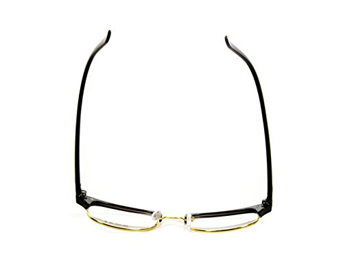 Goson Classic Black Gold Frame/Clear Lens Horned Rim Clubmaster Glasses 50mm
