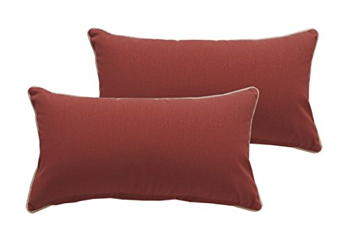 Bossima Indoor/Outdoor Brick Red Rectangle Toss Pillow, Corded Cushion Set of 2