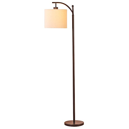 Brightech Montage Bedroom LED Floor Lamp - Alexa Compatible Industrial Arc Light with Hanging Lamp Shade - Tall Uplight Lamp for Office - with LED Bulb- Bronze by Brightech